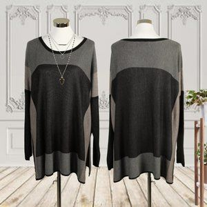 Fever Black Color Block Tunic Size Large/XL